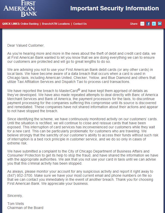 First American Bank: usen efectivo para los taxis en Chicago